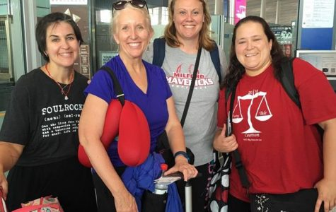 Four Milford teachers on their way to Beijing (From the left: Pishek, Sommers, Evans, Weeks)