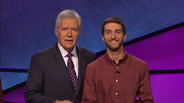 English teacher Nathan Flynn won Jeopardy on an episode that aired June 28th. Here he is pictured with Alex Trebek, the show's host.