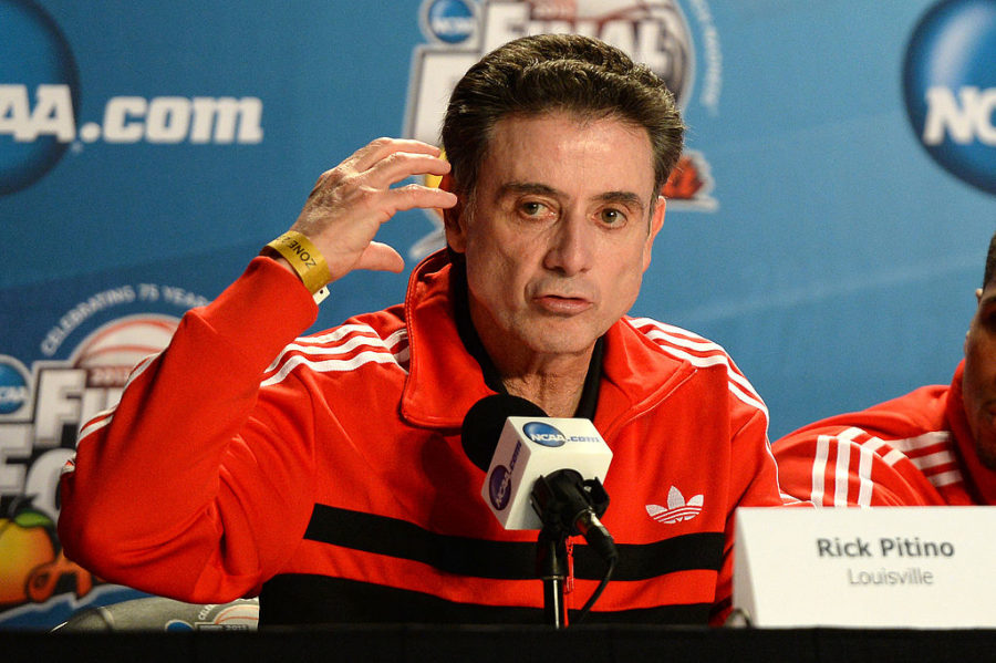 Rick Pitino, former Louisville head coach, addresses the media. (Image courtesy of Flickr)