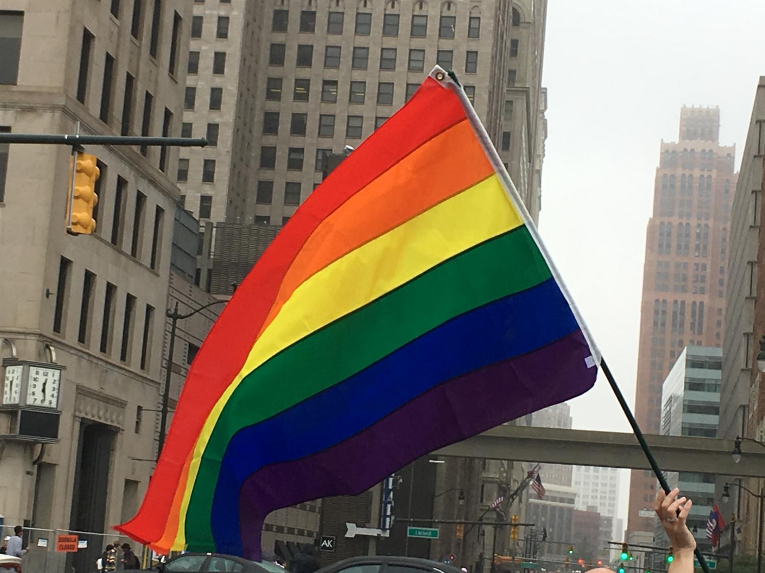 A rainbow flag was flying in the wind during the Pride Parade