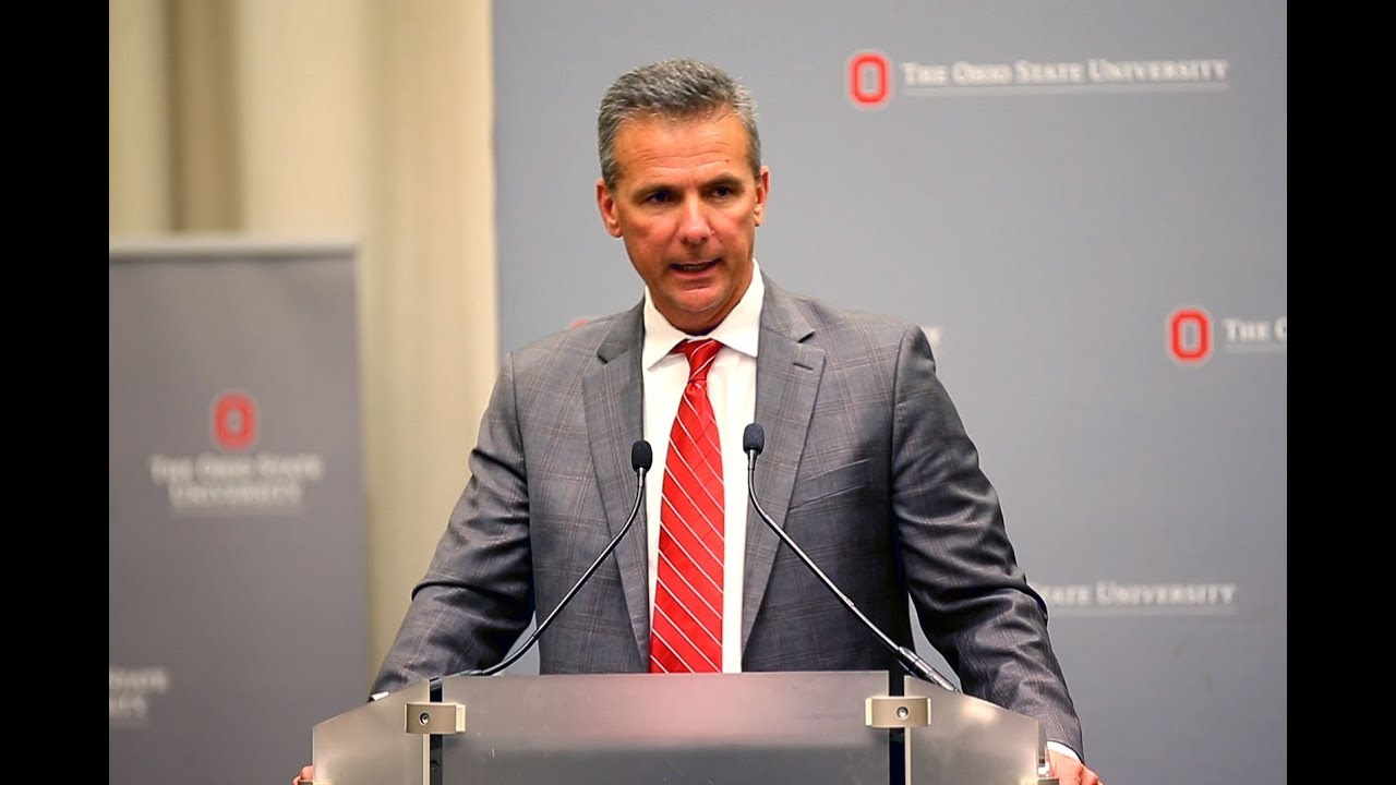 Urban Meyer stands and addresses his audience about the case and his knowledge of it. (Photo By youtube.com)