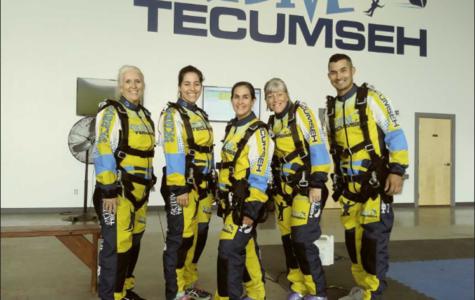 Left  to right; teachers Kaye Sommer, Jennifer Hittle, Carrie Pishek, Jeanne Geraci, and Daniel Reschke pose before their skydiving experience. (Photo courtesy of  Sommer)