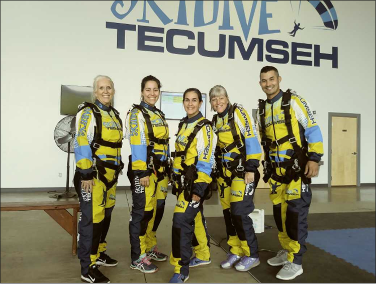 Left  to right; teachers Kaye Sommer, Jennifer Hittle, Carrie Pishek, Jeanne Geraci, and Daniel Reschke pose before their skydiving experience. (Photo courtesy of  Sommer)
