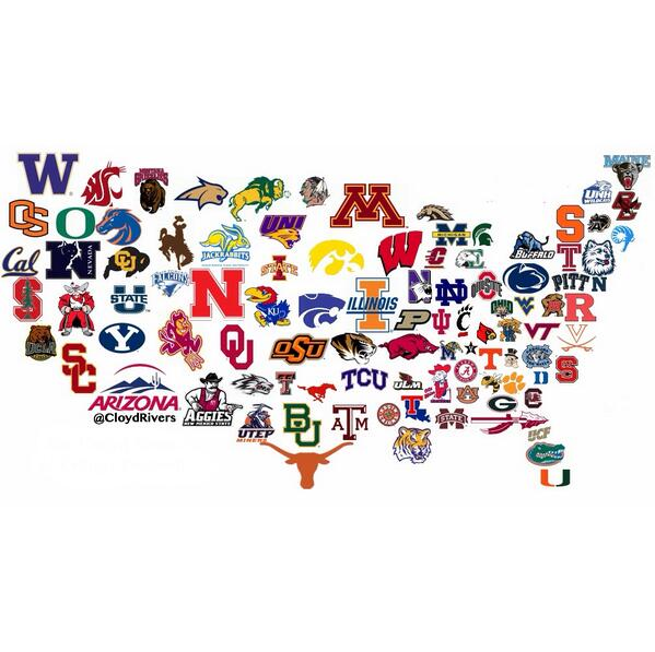 The Map of college football Courtesy of Cloyd Rivers, twitter
