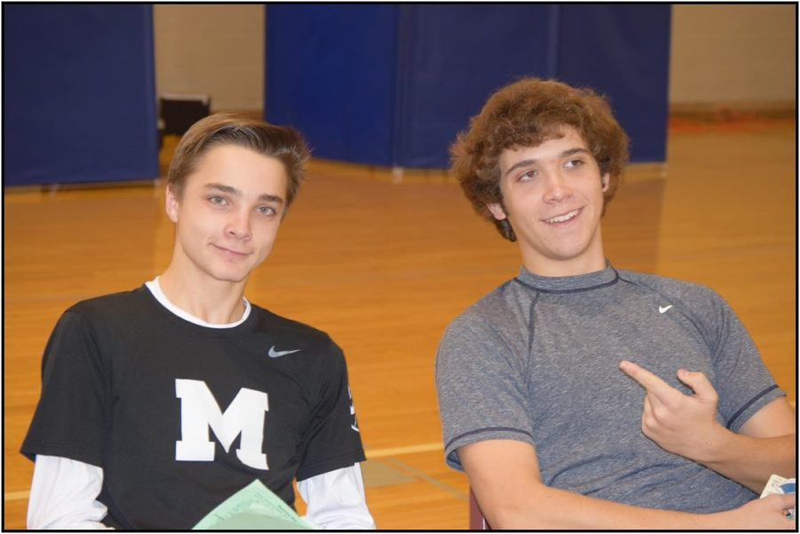 Max Poser and Steven Grigereit waiting to get their blood giving process started.