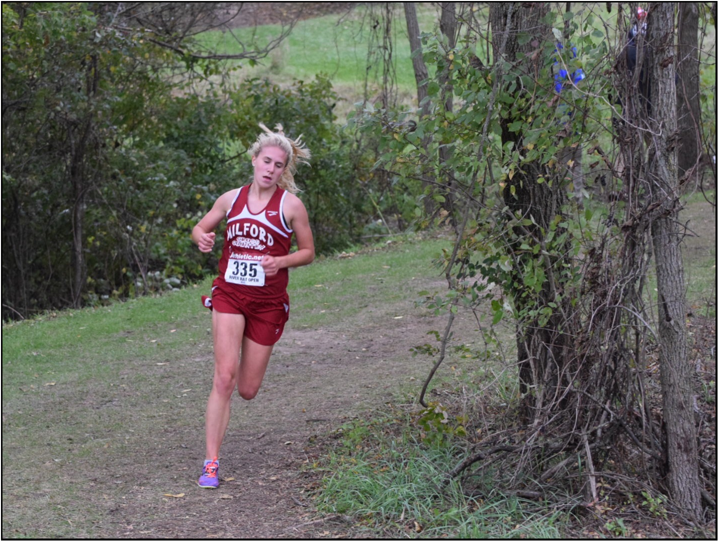 Senior Victoria Heiligenthal  running at the 2018 River Rat Willow Metro Park. (Photos courtesy of  Victoria Heiligenthal)