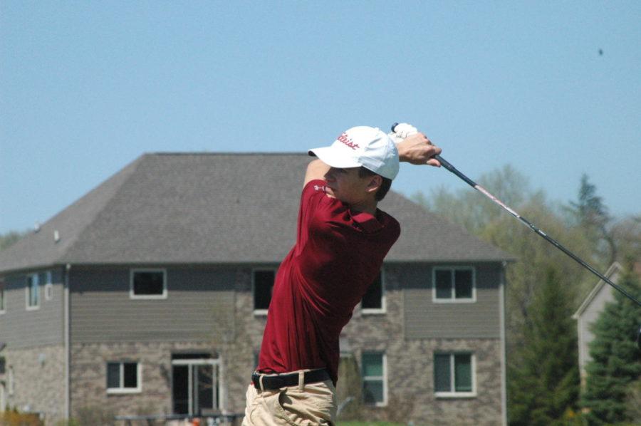 Milford+golfer+Sam+Hewitt+after+a+great+shot.