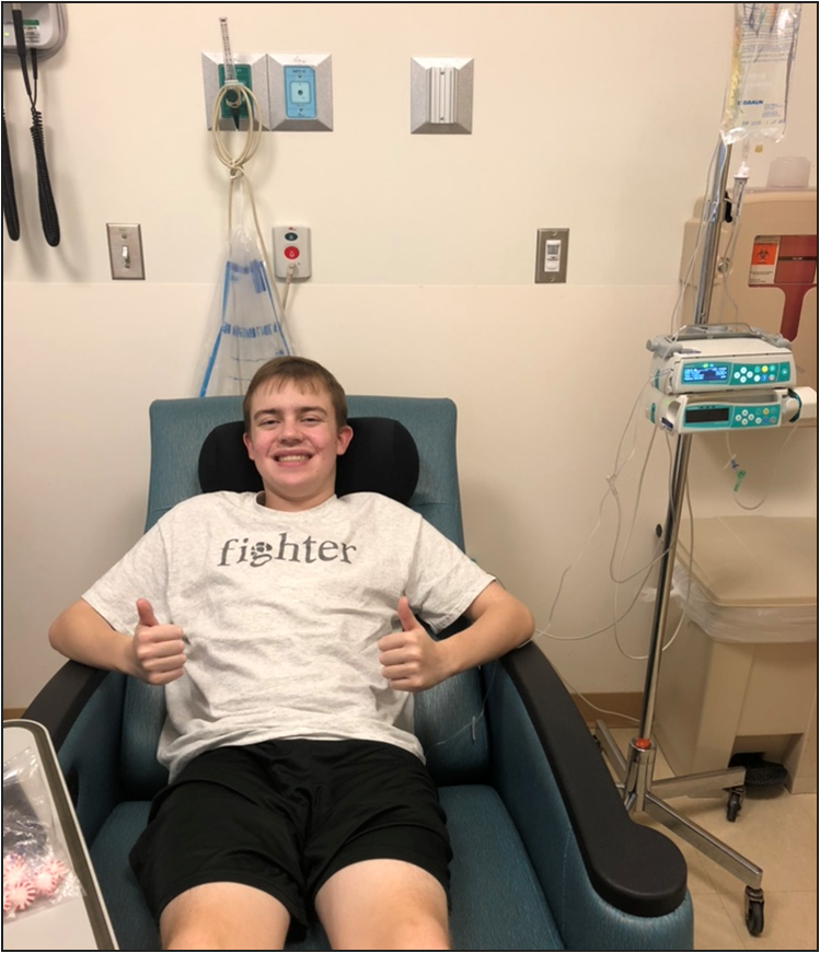 Senior Michael Stevenson getting his last round of chemotherapy in October 2018.