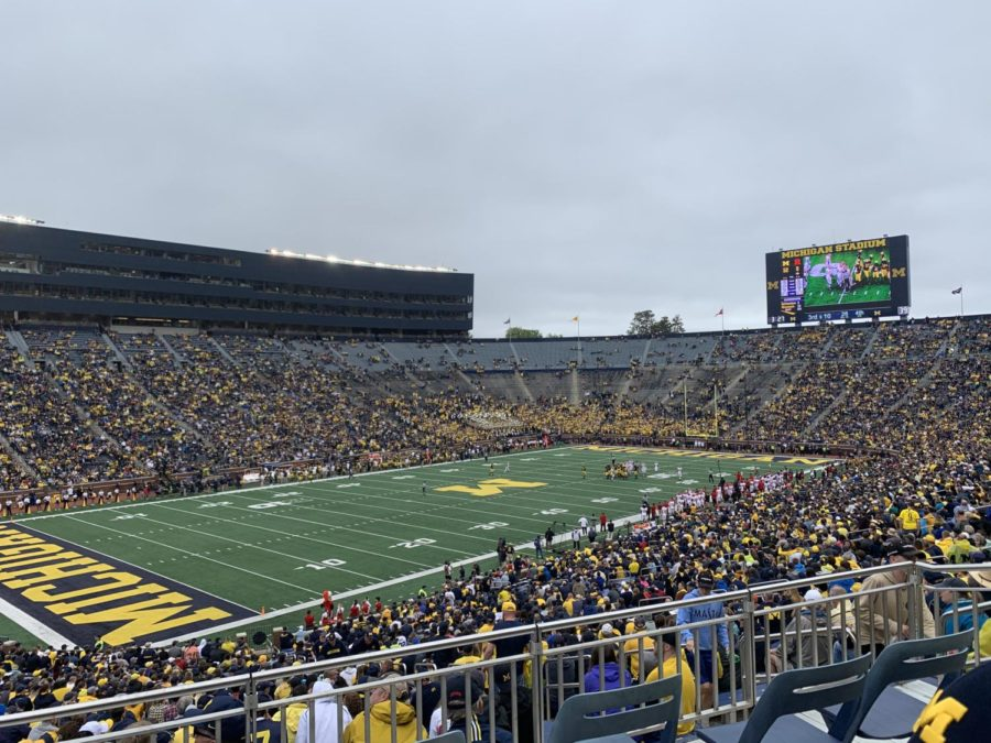 Michigan vs. Rutgers football game played in Ann Arbor, Michigan. Michigan was a Big 10 favorite at the beginning of the year, but an early defeat to Wisconsin has changed the outlook on the Big 10.