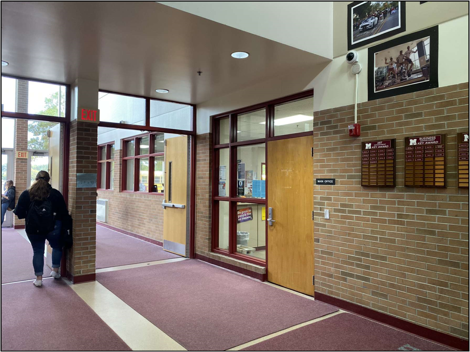 The entrance to Milford High School would be remodeled to make it more secure if the voters pass the  bond proposals.  (Photo by Laura Nowicki)