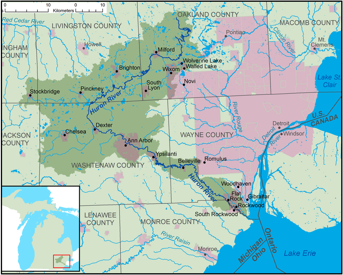 The Huron  River Watershed (graphic courtesy of  Tim Kiser)