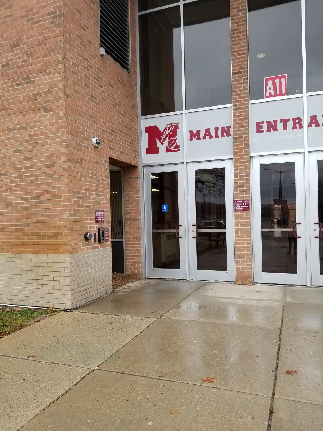 Current entryway to Milford High School (Photo by Riley Coesens)