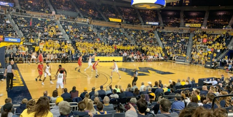Saginaw Valley cardinals against the Michigan Wolverines on November first in a 82-51 win. (Photo by Cameron Whitney