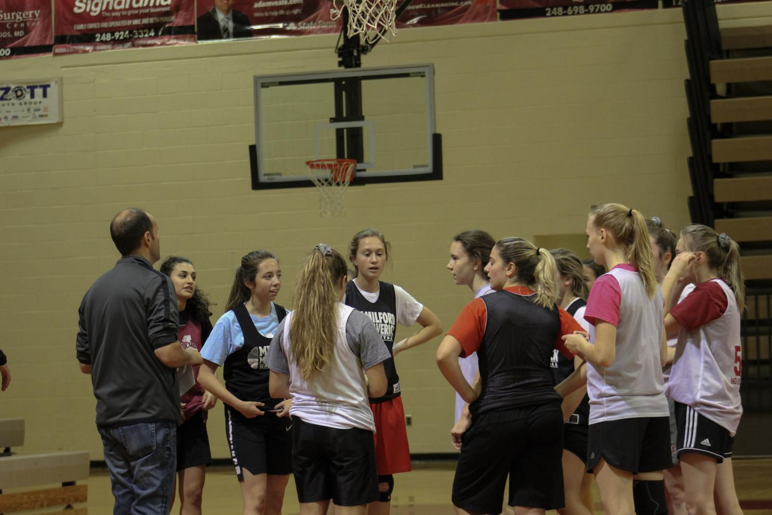 Girls basketball during tryouts 2019