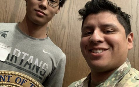 Kevin Kim with his recruiter  SSGT Ramirez  (Photo courtesy of Kevin Kim)