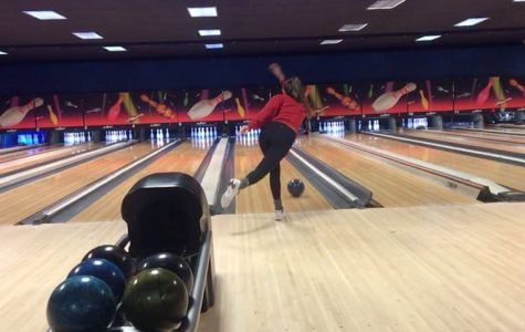 A member of the Milford girls bowling team aiming for a strike ( Photo courtesy of www.lakesvalleyconference.org )