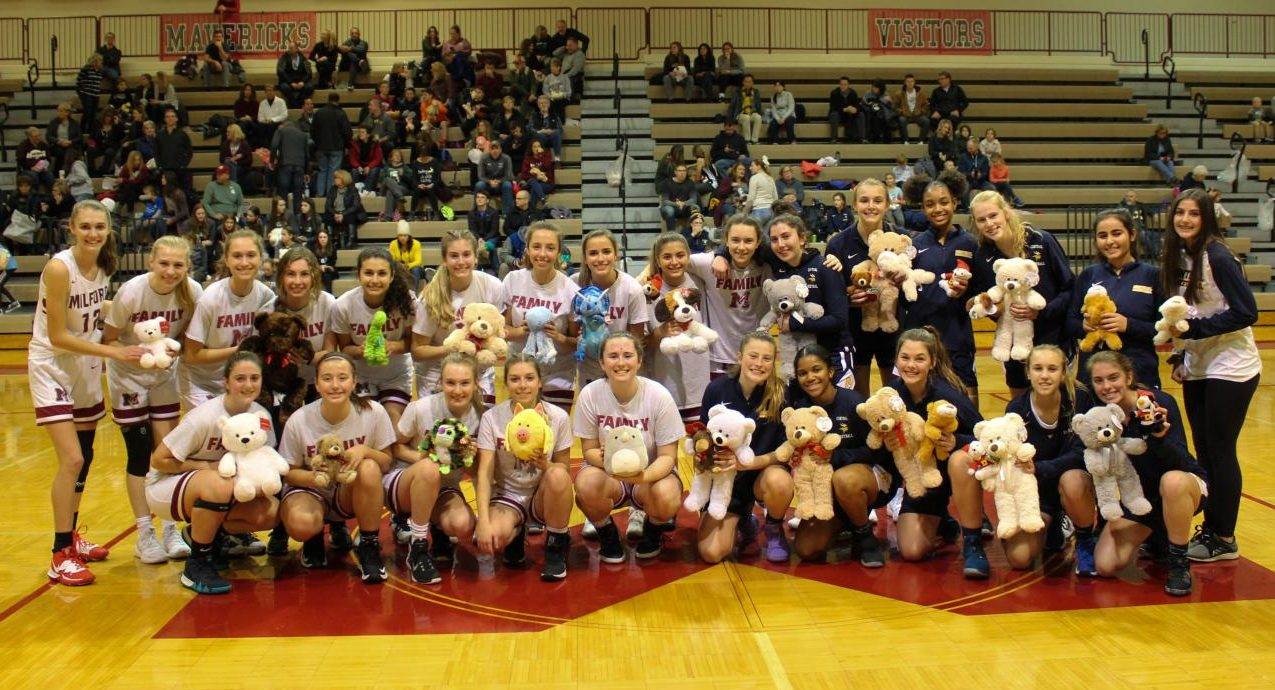 Both Milford and Walled Lake Central before the game with toys the teams will be donating