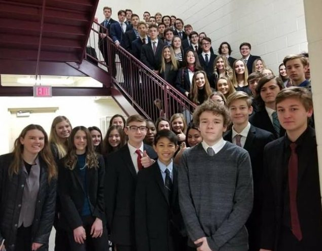 MHS DECA students before leaving for Lawrence Tech (Photo courtesy of Kaye Sommer)