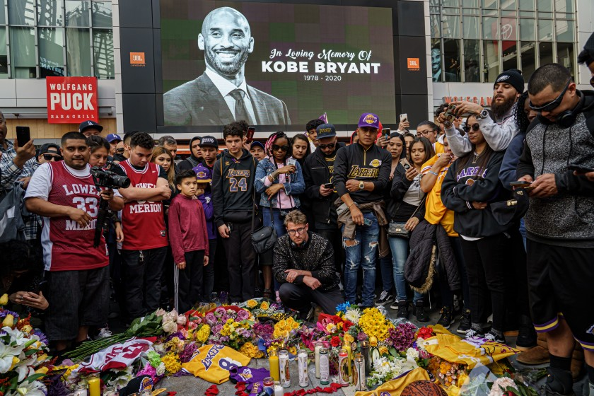 Fans+gather+around+Kobe+Bryant+Memorial+at+the+Staples+Center+%28Courtesy+of+LA+Times%29