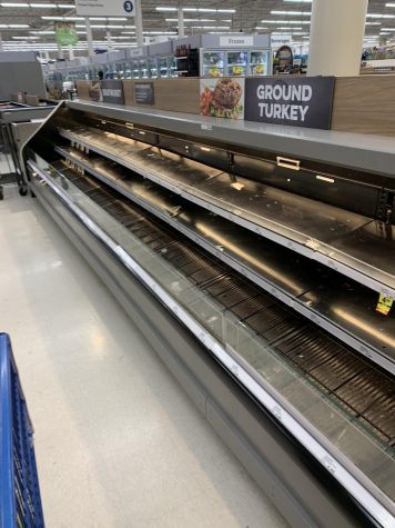 For the last 2 months, many grocery stories have had a difficult time keeping meat, dairy and other produce items stocked. This picture, from March, shows a Meijer store that is sold out of ground turkey.