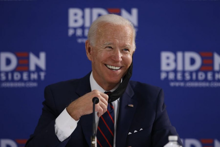 Biden smiling at a campaign stop.