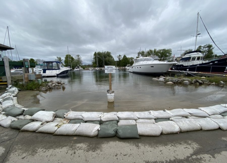 The Suttons Bay, MI Marina boat launch flooded and sand bagged.