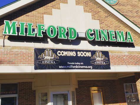 A new banner placed below the original Milford Cinema sign.