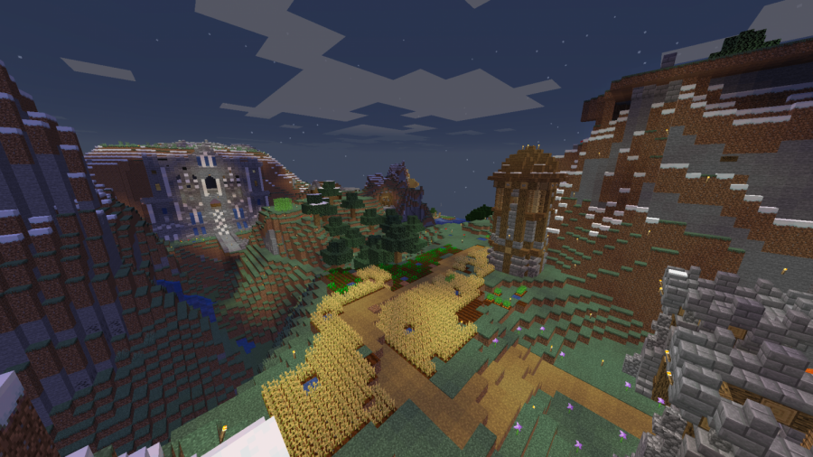 A+bird%27s-eye+view+of+a+Minecraft+base.