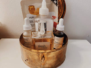 A shelfie of skincare for the winter as well as all year round.