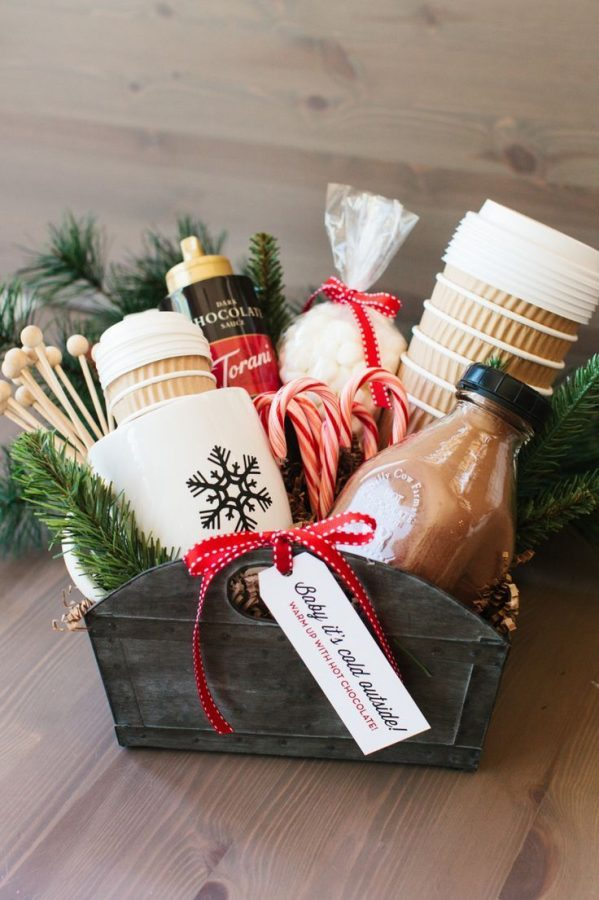 Shown above is an example holiday gift basket, including cute holiday-themed items; this present can be customized to fit the interests of anyone!