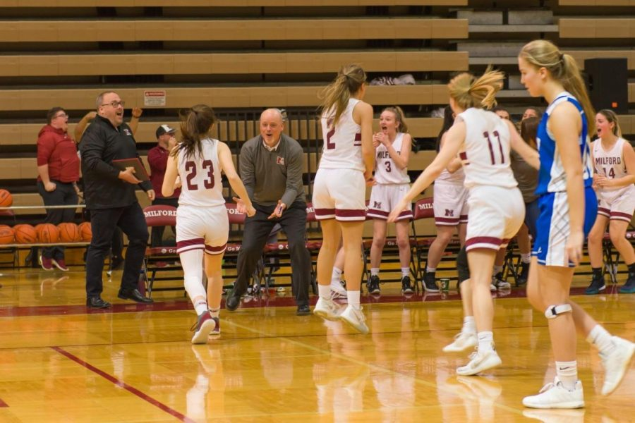 Coach Mike Jenkins and the Girls Varsity Basketball team celebrate Chloe Gilbert's game-winning shot at last year's Hall of Fame night on Feb. 7.