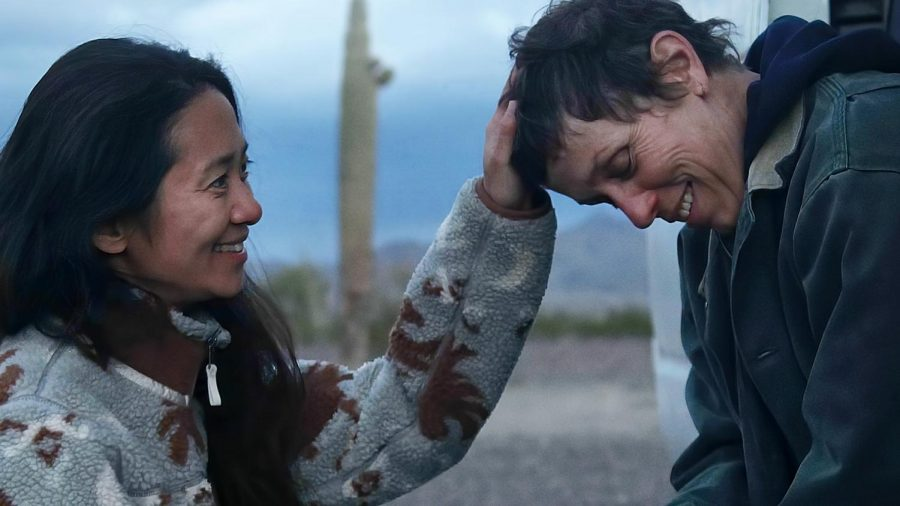 Best Actress nominee Frances McDormand and Best Director nominee Chloé Zhao on the set of the film