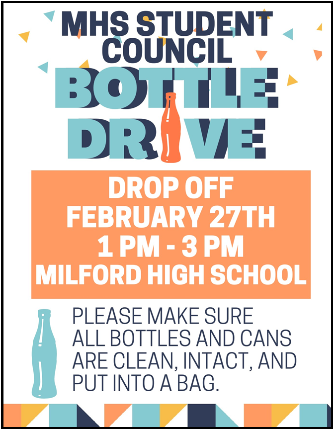 Flyer for the Student Council Bottle Drive.
