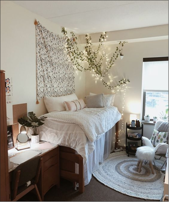 Dorm room with a rug, fairy lights, a tapestry, and plants (Photo courtesy of pinterest.com)