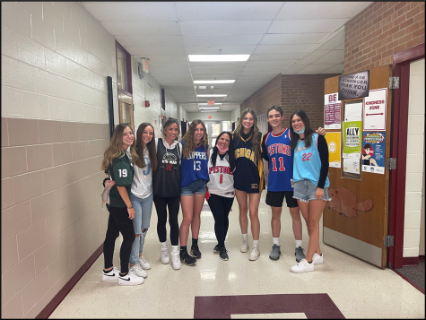 Students participating in Jersey Day to show spirit for their favorite teams.