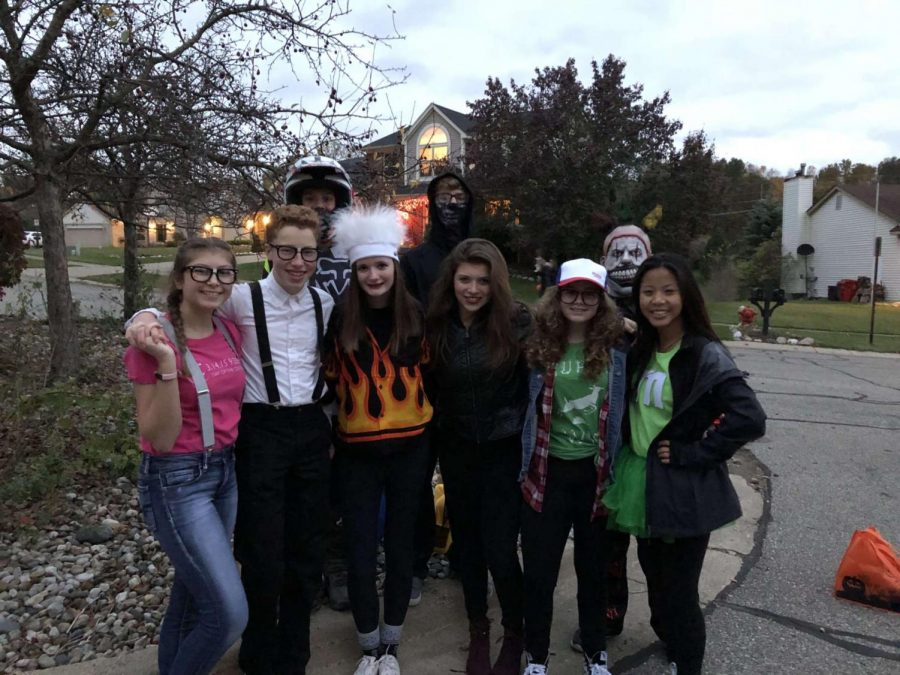 Many of Milford's graduating seniors have grown up together, bonding and creating memories for years. Shown above  are some (now) MHS seniors during their freshman year on Halloween (Photo courtesy of Joe Antrim).