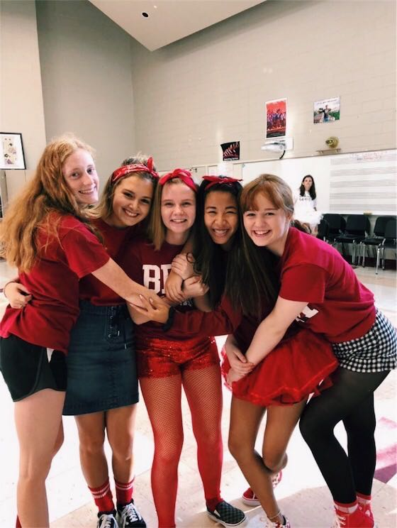 From+left+to+right%2C+now+seniors+Elaina+Schwendemann+%2C+Hannah+Jenkinson%2C+Taylor+Dumas%2C+Clare+Miller%2C+and+McKenna+Bausman+dressed+up+for+spirit+week+as+sophomores+%28Photo+courtesy+of+Clare+Miller%29.%0A