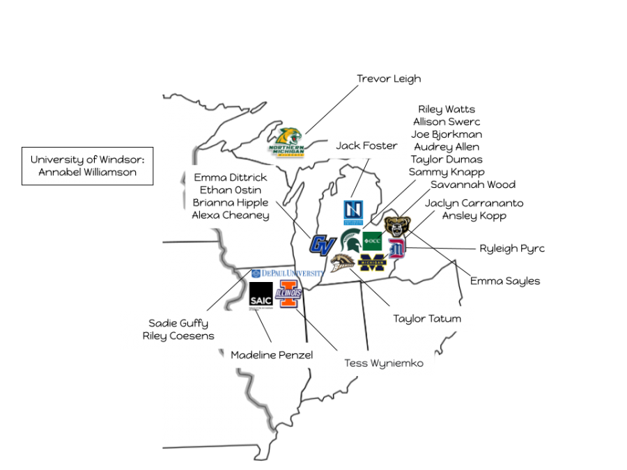 Map of where MHS Class of 2021 is planning to go based on survey results from March 2021 (Graphic by Maddie Melody).
